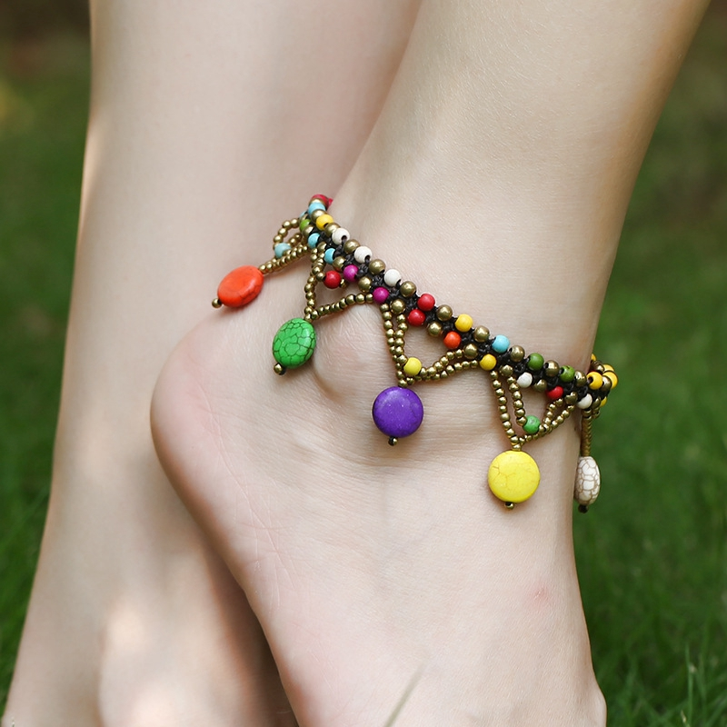 H:HYDE Charm Folk-custom Color Stone Women Anklets Pretty Beads Wax Rope Bell Foot Chain Les cheville des femmes