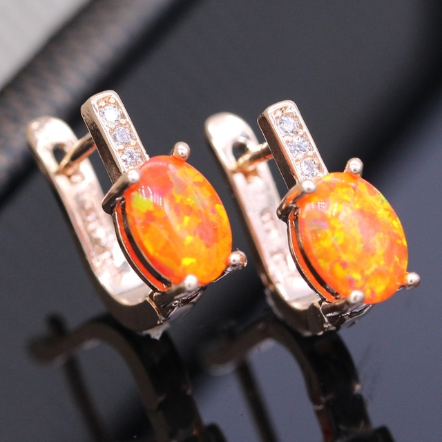Beautiful Romantic Zirconia Orange Fire Opal Charm Earrings For Women Anniversary 2colors