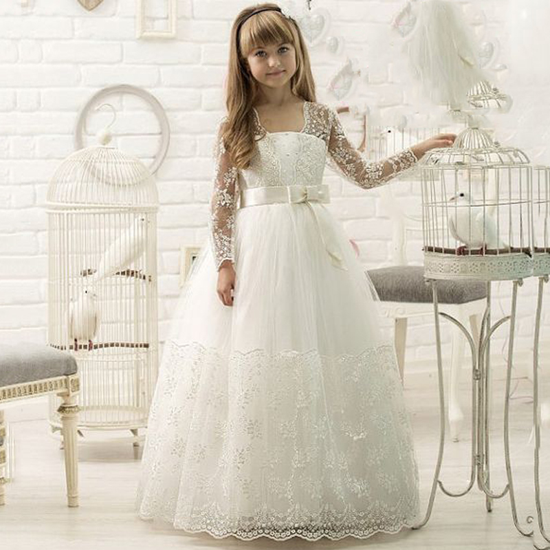 2017 Flower Girl Dresses Long Sleeves Ball Gown White/Ivory Appliques First Communion Gowns For Junior Pageant Vestidos Longo pageant dress long sleeves and appliques satin white ivory flower girl dresses for wedding custom made new arrival hot