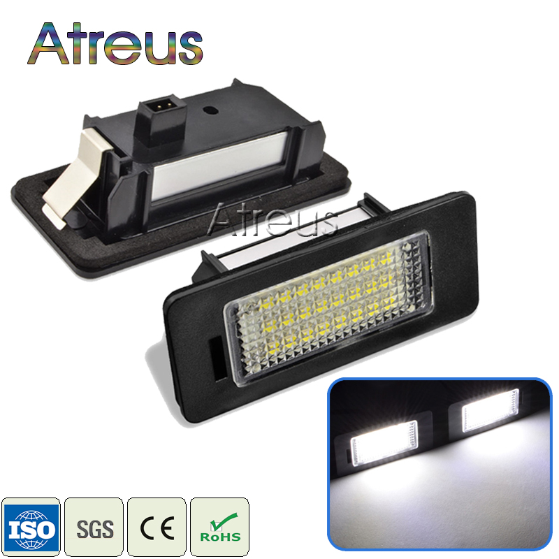 цена на Atreus 2X LED License Plate Light 12V SMD Car styling For Audi A4 b8 A5 S5 Q5 TT RS For VW Volkswagen Passat 5D R36 accessories