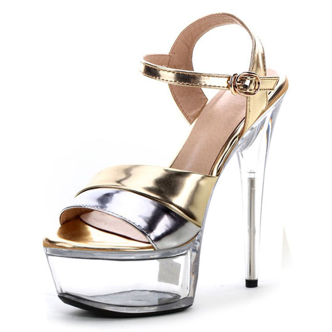 Hot-selling 2016 women's shoes fashion sexy gold/silver shoes star shoes 15cm ultra high heels crystal sandals 15cm ultra high heels sandals ruslana korshunova platform crystal shoes the bride wedding shoes