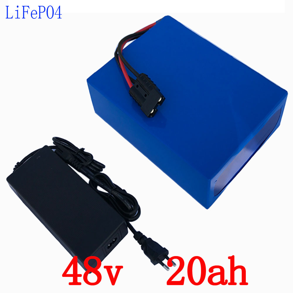 48V LiFePO4 battery 48V 20AH electric bike battery 48V 1000W electric wheelchair battery 1200 times cycle with charger