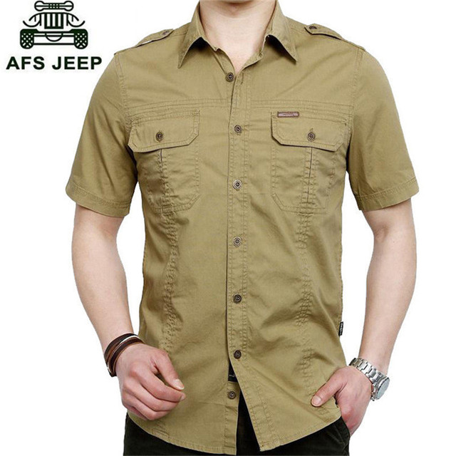 c627b8b73ee1 AFS JEEP Shirt Men 2018 New Summer Men s Solid Military Short Sleeves  Shirts Cotton Breathable Chemise male Loose Army Shirt