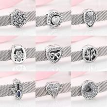 Новые 925 пробы серебряные сердца и круглой формы сверкающие CZ бусы-клипсы подходят к оригинальному отражению браслет для изготовления ювелирных изделий