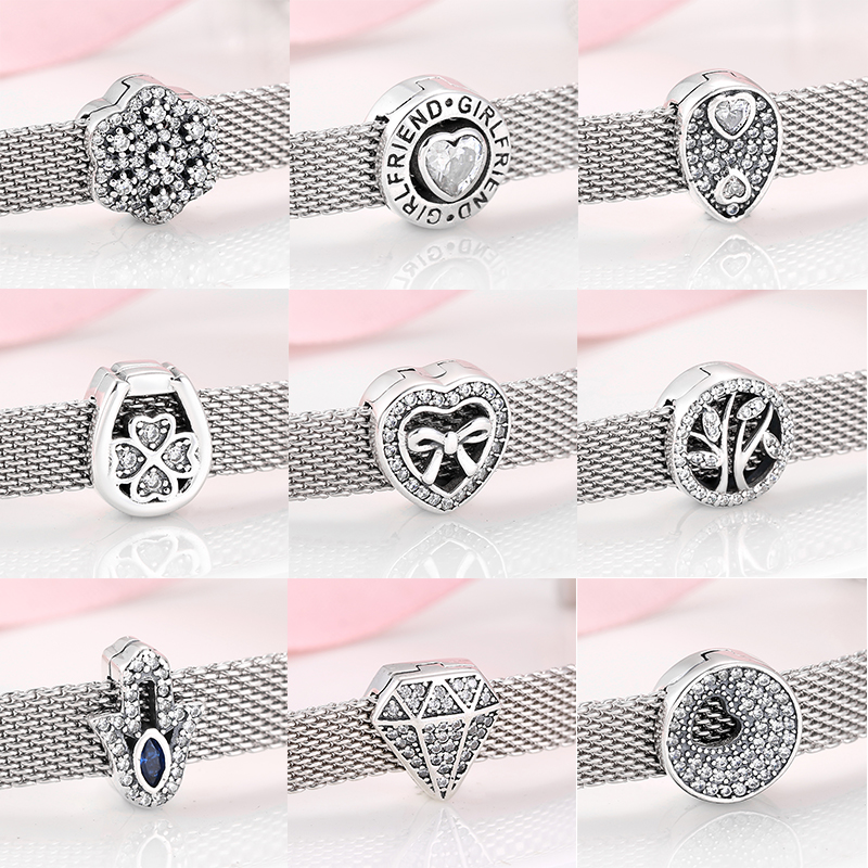New 925 Sterling Silver heart and round shape Sparkling CZ clips Beads Fit Original Reflections Charm Bracelet Jewelry making