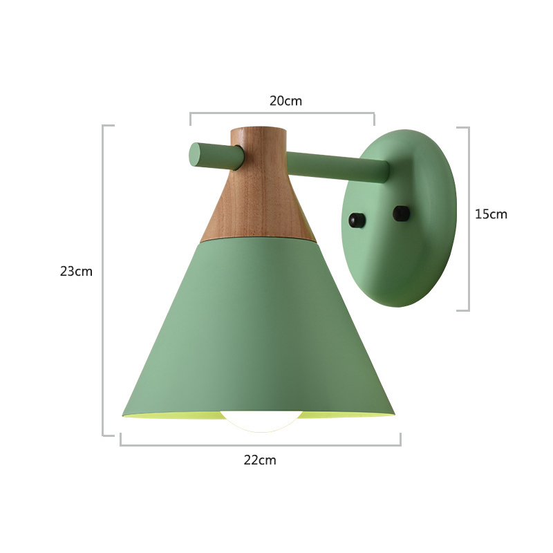 Nordic Wooden LED Wall Light Bedroom Living Room Macaron Multi-color Modern Wall Lights Sconce Bedside Wall Lamp E27