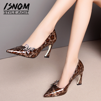 ISNOM High Heels Pumps Women Pointed Toe Footwear Leopard Patent Leather Shoes Female Crystal Shallow Party Shoes Woman Spring