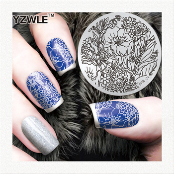 YZWLE Nail Template NEW Nail Art Plate Stainless Steel Image Nail Art Stamping Decor DIY Nail Tool SPB-24 image