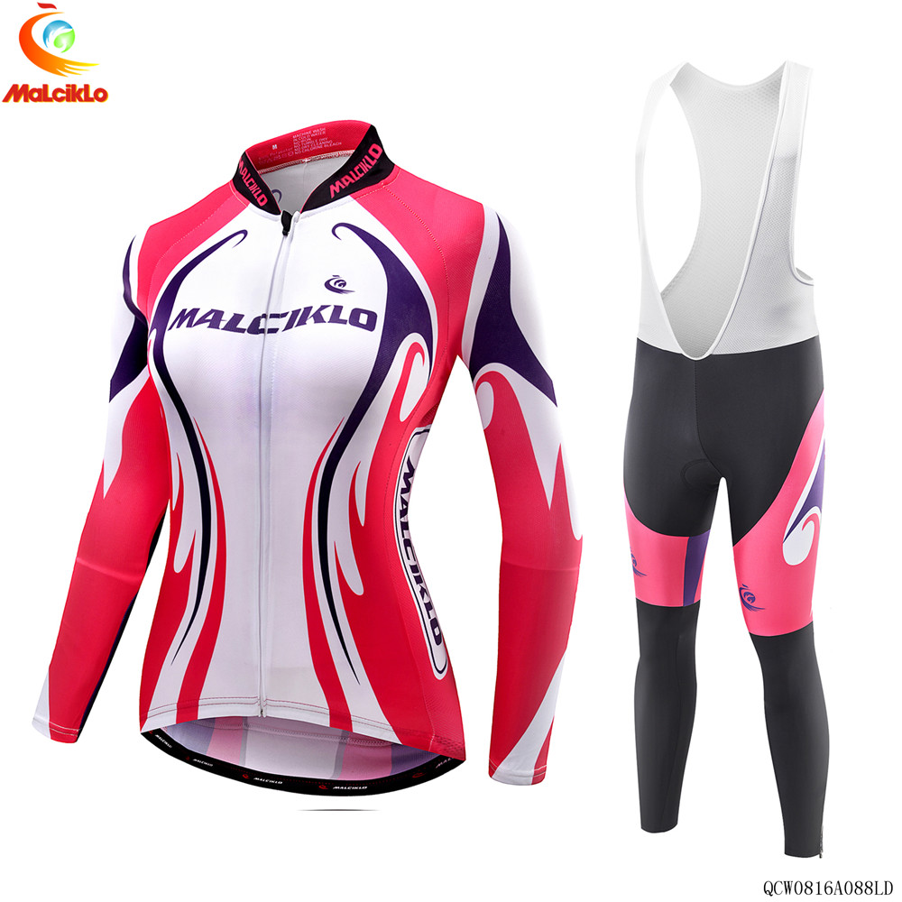 Malciklo 2018 Rose Red Long Cycling Jersey Sets MTB Clothing Women Racing Bike Wear Clothes Quick dry Maillot Ropa Ciclismo