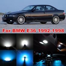 Wljh 15x Ice Blue CANBUS ОШИБОК автомобиля Подсветка салона ствол зеркало led комплект для BMW E36 328i 318i 325i 1992 -1998 чистый белый