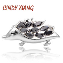 CINDY XIANG New Arrival Zirconia Hedgehog Collar Pin For Women And Men Unisex Fashion Copper Brooch Animal Design Kids Gift