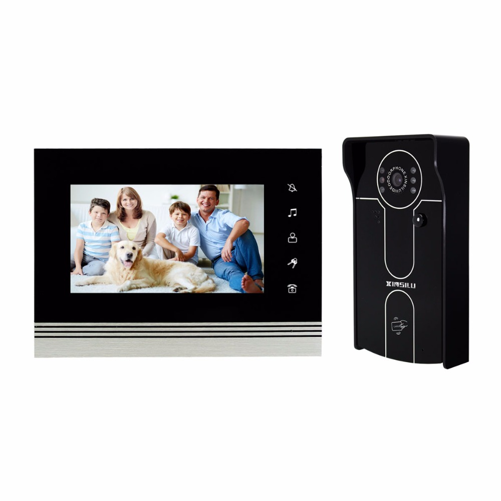 Video Intercom 7 Color Video Door Phone Doorbell Intercom Camera RFID Access Control System & ID Card Home Security F4500A one key call 700tvl for wired video door phone outdoor camera id card access control