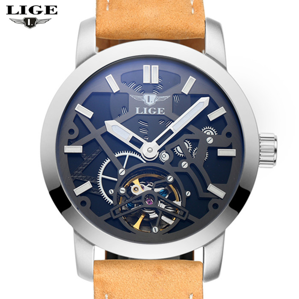 ФОТО 2016 New Men's Watch LIGE Men's Luxury Branded Watch Automatic Mechanical Watch Men's Military Machine Idle Skeleton Men's Watch