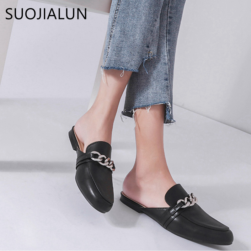 SUOJIALUN 2018 Summer Women Slippers Plus Size 36-41 Fashion Chian Decoration Flat Outside Ladies Casual Mules Slides ShoesSUOJIALUN 2018 Summer Women Slippers Plus Size 36-41 Fashion Chian Decoration Flat Outside Ladies Casual Mules Slides Shoes