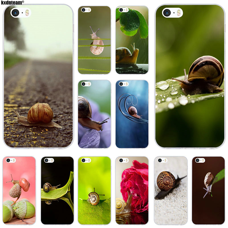 Animal Baby Snails Pattern Soft Silicone TPU Transparent Phone Cases for iPhone 6 6S 7 8 Plus 4 4S 5 5S 5C SE X Coque Shell