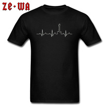 Women Men Black T Shirt Heartbeat Guitar Music Crazy Tshirt 3D T-Shirts For Youth 100% Cotton Crew Neck Party Tees Top Quality