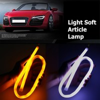 2pcs Lot 60cm White Amber Flexible LED Tube Strip DRL Daytime Running Lights Turn Signal Light