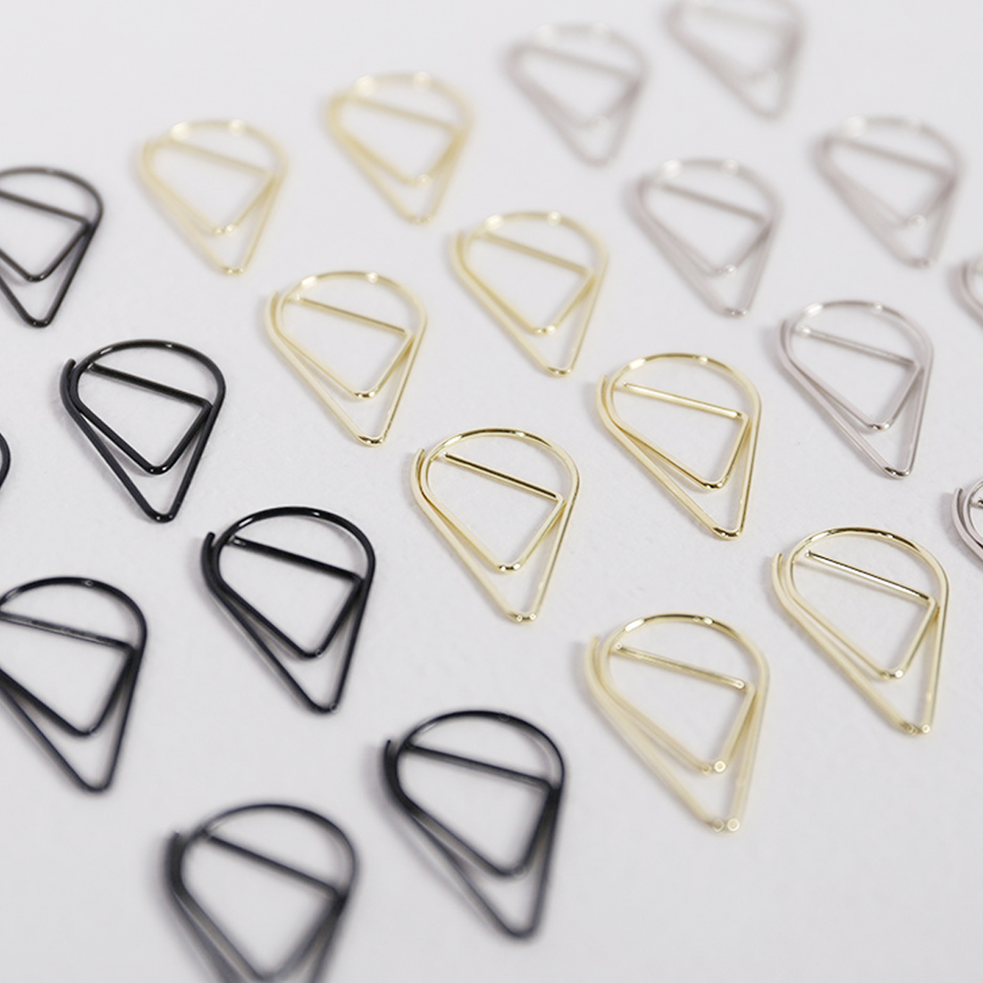 FangNymph Metal Kawaii 10PCS/Pack Drop Shape Paper Clips Multiple Colors Bookmark  Office Shool Books Stationery Marking Clips