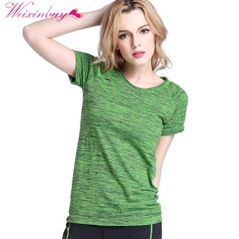 WEIXINBUY Dámské trička s krátkým rukávem Hygroskopické tričko Quick Dry Fitness pro ženy Topy Chic