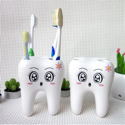 Teeth Style 4 Hole Stand Tooth Brush Shelf Bathroom Accessories Sets,Bracket Container For Bathroom Cartoon Toothbrush Holder