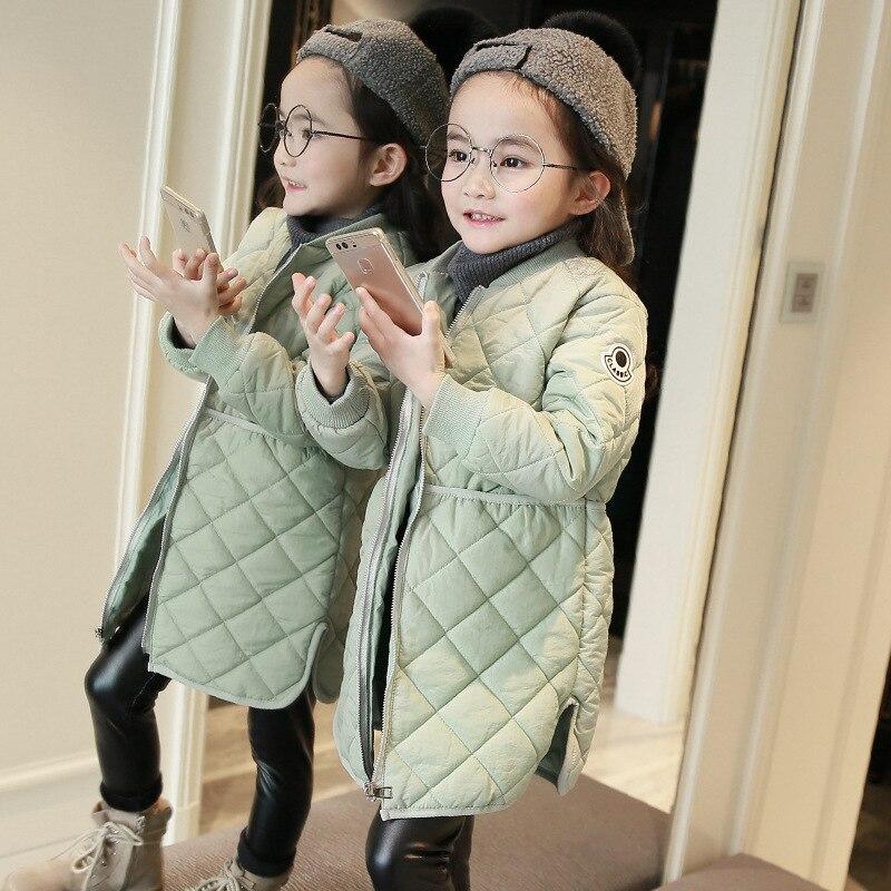 Бренд 2019 года, зимнее пальто для маленьких девочек тонкое детское хлопковое пальто детские модные парки Длинные Стильные куртки для малышей От 2 до 12 лет #2395