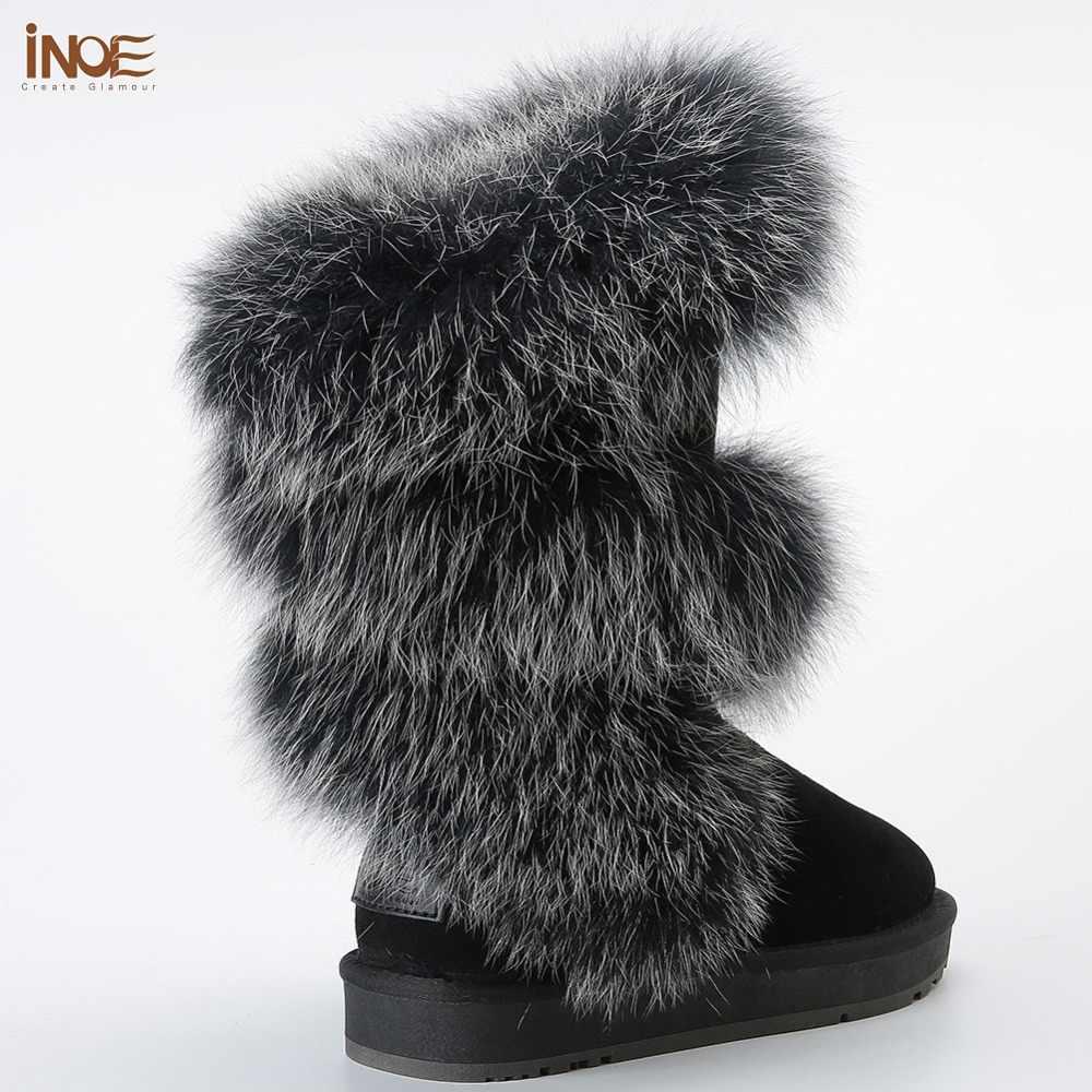 INOE Lüks Moda Yumuşak Kutup Tilki Kürk Kış Çizmeler Kadınlar için Diz Yüksek Sıcak Kar Botları Tutmak Inek Süet Deri siyah Gri