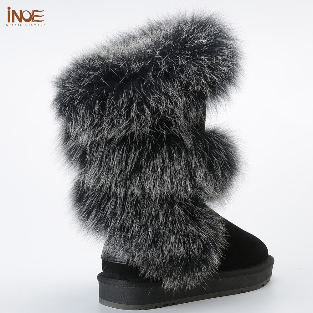 INOE Luxurious Fashion Soft Arctic Fox Fur Winter Boots for Women Knee High Keep Warm Snow Boots Cow Suede Leather Black Grey