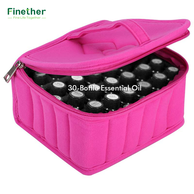Finether 30 Bottle Essential Oil Case Box Organizador Protects 15ml Rollers Oils Bag Travel Carrying