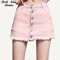 Women Plus Size Button Up Micro Mini Short Skirt 6Xl 7Xl Summer Streetwear Pink Denim Skirts Fashion Jeans Skorts Jean Pantskirt