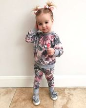 Autumn Girls Clothes Winter 2018 Floral Print Long Sleeves Tops Long Pants 2pcs/Set Infant Girls