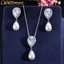 CWWZircons Brilliant Quality Cute Water Drop Cubic Zirconia Dangling Pearl Necklace Earrings Jewelry Sets for Women T156(China)