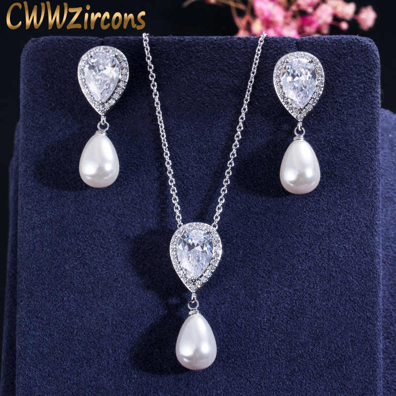 CWWZircons Brilliant Quality Cute Water Drop Cubic Zirconia Dangling Pearl Necklace Earrings Jewelry Sets for Women T156