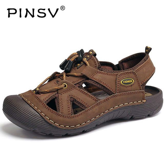 b33759bf62bb3b PINSV Outdoor Hiking Sandals Shoes Genuine Leather Waterproof Summer Shoes  Mens Walking Trekking Shoes Beach Brown Size10