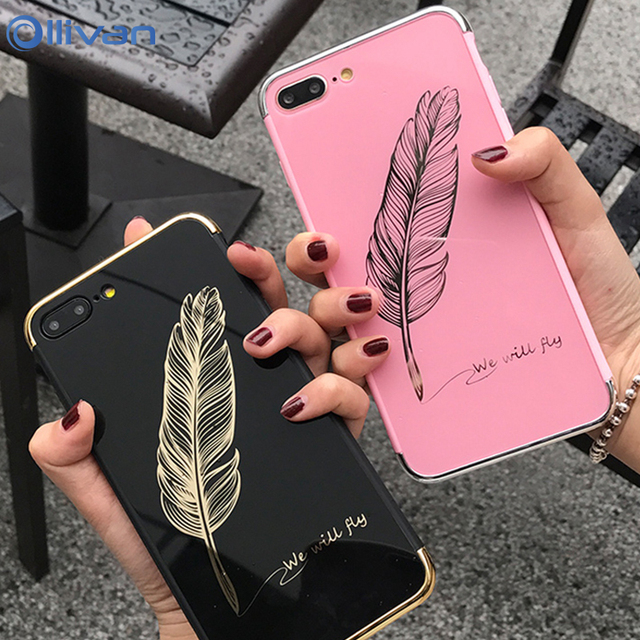 140d09085cc Luxury Mirror Feather Pink Soft TPU Case For iPhone 6 6S 7 8 Plus X ...