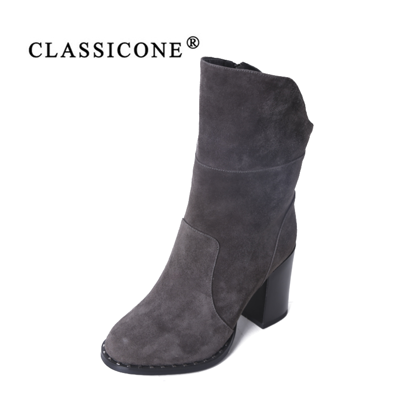 CLASSICONE shoes woman snow boots winter genuine leather black suede gray high heels warm wool brand fashion style designers CLASSICONE shoes woman snow boots winter genuine leather black suede gray high heels warm wool brand fashion style designers