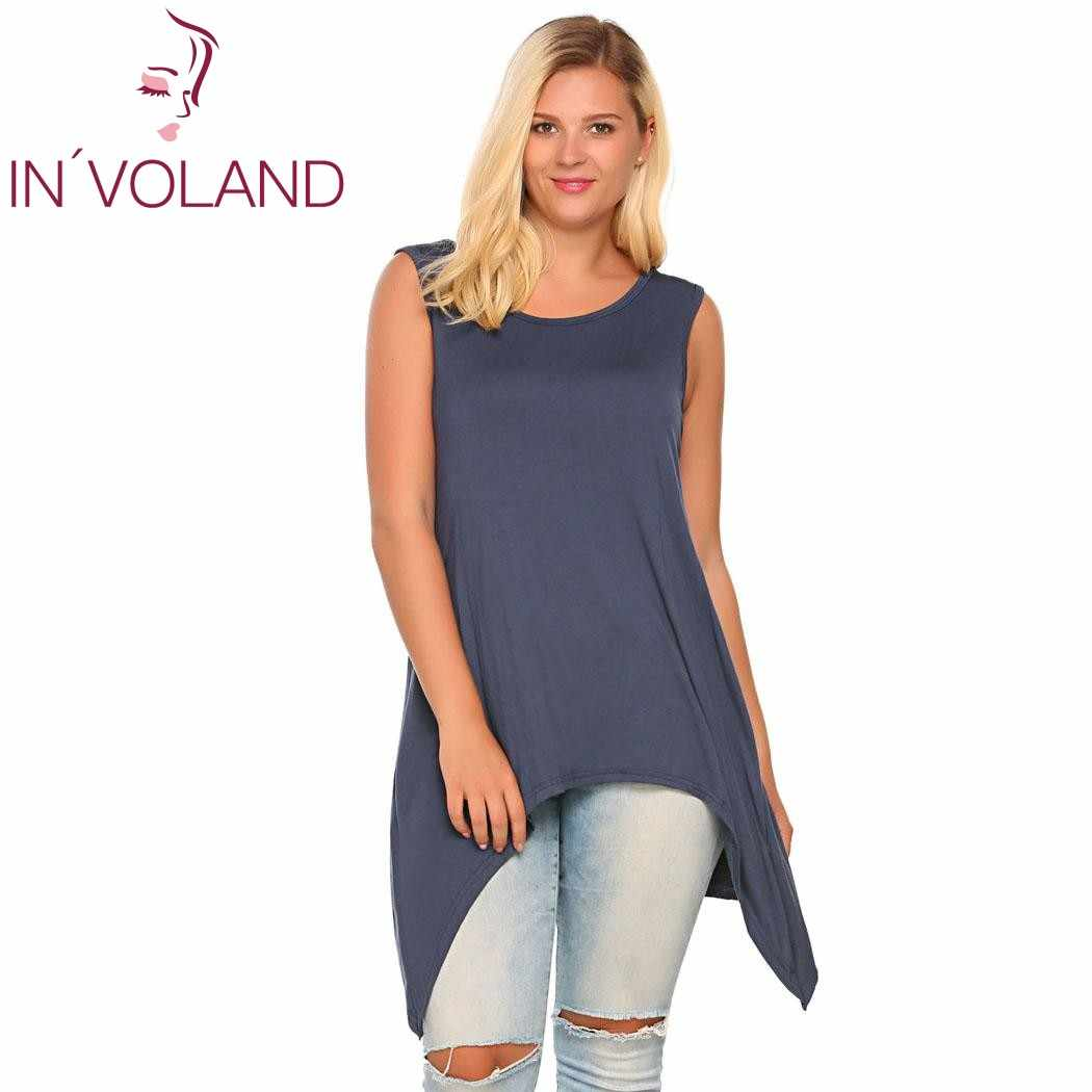 ab9e0ee81ba76 IN VOLAND Women Tank Top Plus Size Solid Casual Sleeveless Solid  Asymmetrical Above Knee Feminino