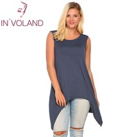 IN VOLAND Women Tank Top Plus Size Solid Casual Sleeveless Solid Asymmetrical Above Knee Feminino Vest
