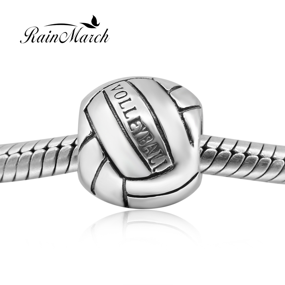 925 sterling silver volleyball charms round beads diy Fits for Pandora Bracelets free shipping бижутерия pandora 925 790122