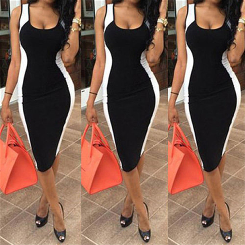 Women Sexy Bodycon Dress Sleeveless Black And White Patchwork Fashion Low Cute Package Hip Dress Sexy Club Wear For Women