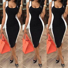 Women Sexy Bodycon Dress Sleeveless Black And White Patchwork Fashion Low Cute P