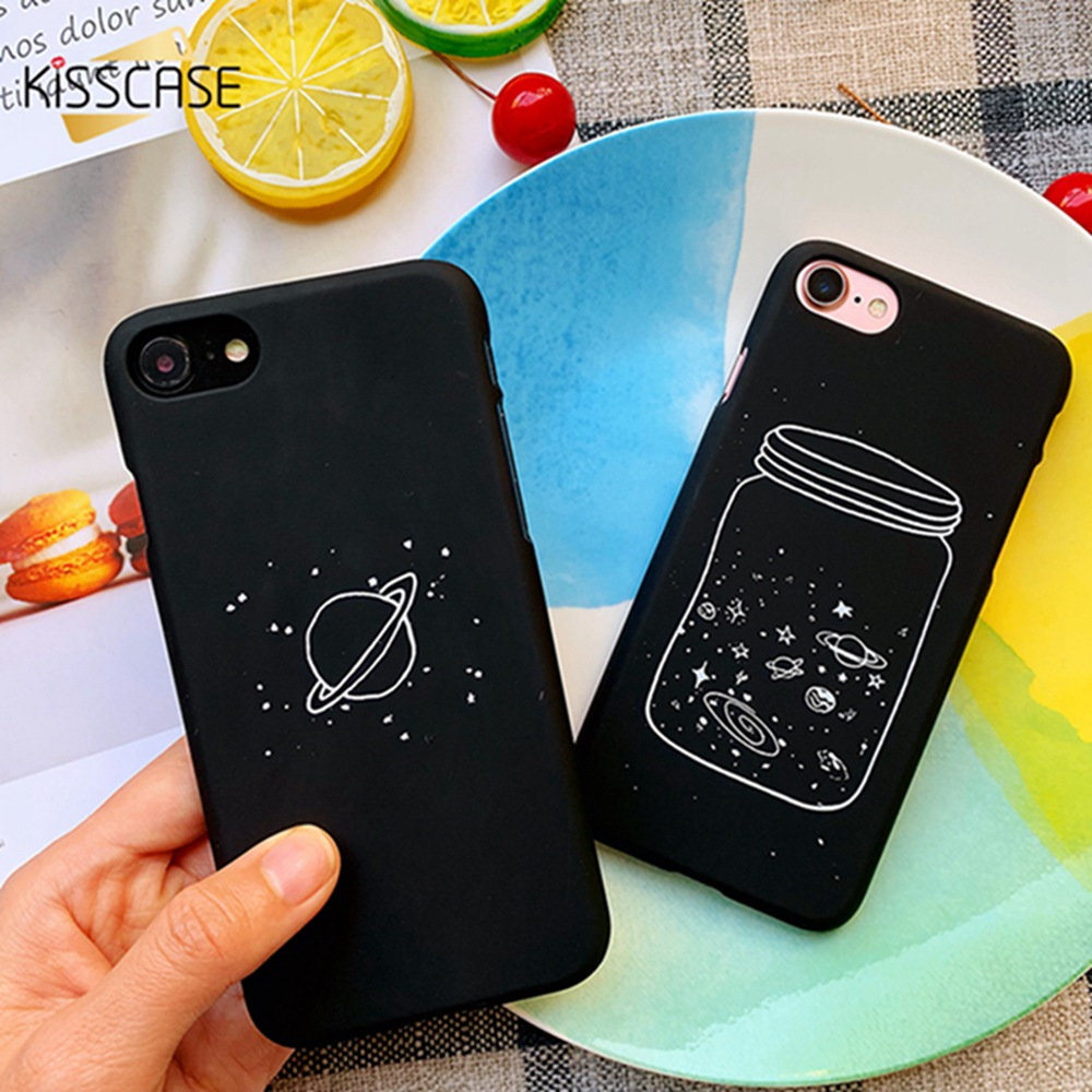KISSCASE Half wrapped Phone Case For iPhone 5 5s SE 6 6s 7 8 Plus X XR XSMAX Shock Proof Fashion PC Starry Pattern Case Funda in Half wrapped Cases from Cellphones Telecommunications