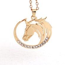 Hzew colar de pingente cavalo, simples, bonito, formato redondo, de cavalo, colares
