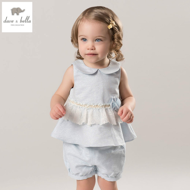 71b50aadfaff DB5052 dave bella summer baby girls clothing sets child lovely sets ...