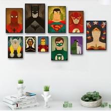 Скандинавский винтажный Холст Картина герои фильма Супермен постер с Бэтменом Холст Картина маслом Гостиная декоративная роспись стены Искусство