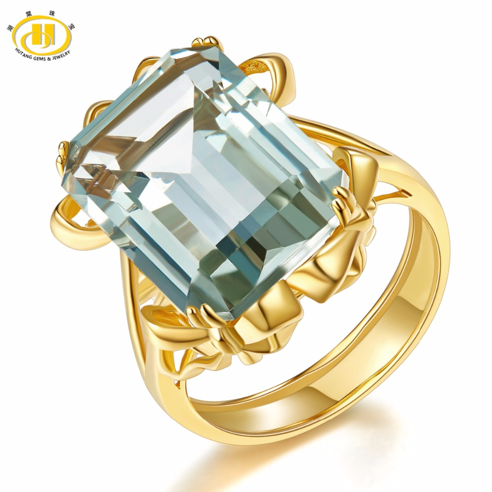 Hutang Stone Jewelry 15ct Natural Gemstone Green Amethyst Ring Solid 925 Sterling Silver Yellow Gold Fine Jewelry For Women MenHutang Stone Jewelry 15ct Natural Gemstone Green Amethyst Ring Solid 925 Sterling Silver Yellow Gold Fine Jewelry For Women Men
