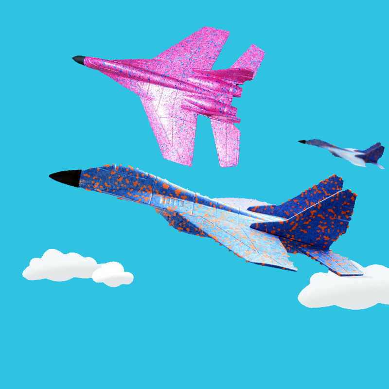 43cm Foam Battleplane 2 Colors Blue Rose Epp Resistance Hand Throwing Airplane Foam Outdoor Launch Glider Plane Swing Kids Gift Diecasts & Toy Vehicles