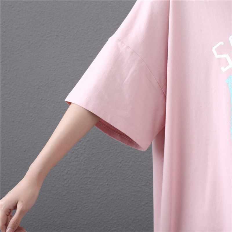 Новое поступление, летняя Женская длинная футболка, Женская длинная хлопковая футболка для отдыха