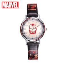 Marvel Avengers Hulk Captain America Iron Men Hero Dream Watches Boy Blue Red Green PU Band Quartz Watch Disney Child Clocks New