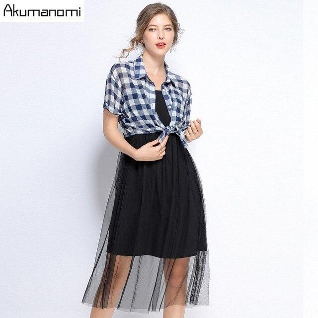 Two Piece Set Plus Size Summer 2019 New Suits Mesh Mid Calf Vest Sling Dress Plaid Blouse Shirt Card Pack Ensemble Deux Pièces