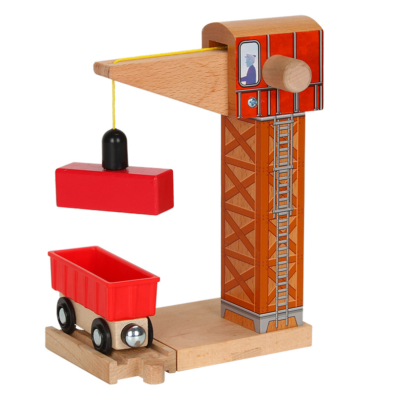 p182 Wooden Track Accessories Thomas crane Tower Toys Magnetic Car Models Track Construction Games Compatible with Wooden Track